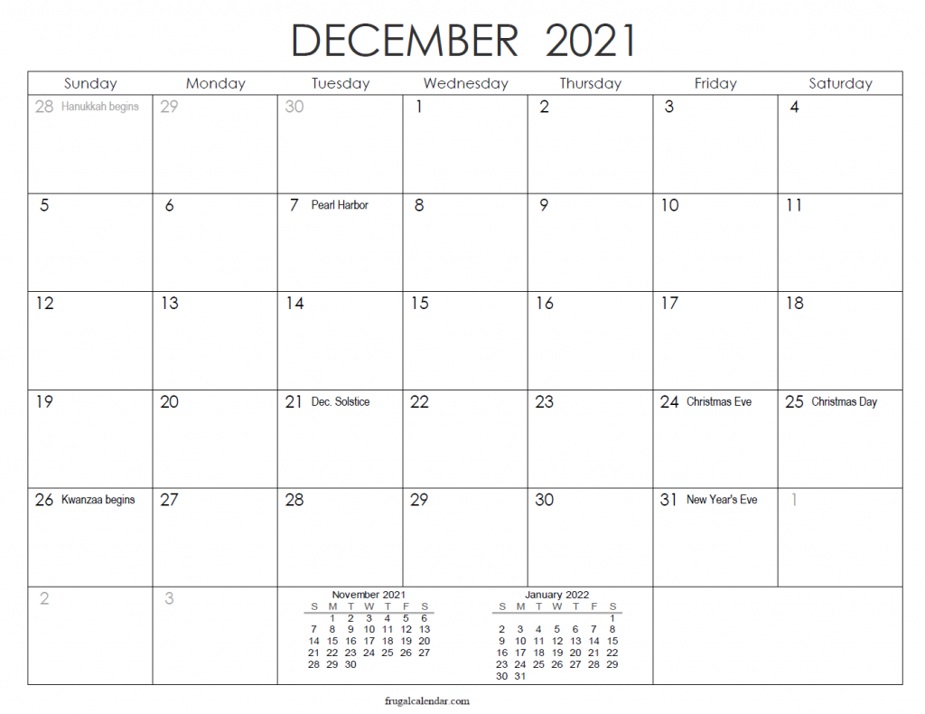 2021 December Calendar Landscape ink Saver