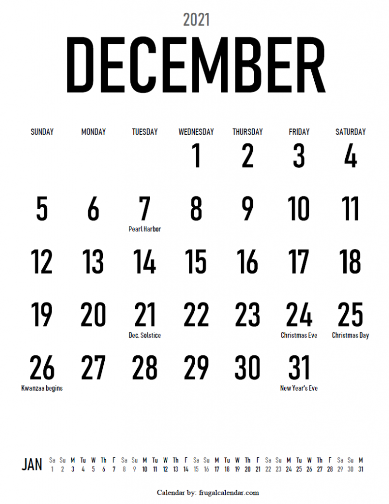 2021 December Large print calendar portrait