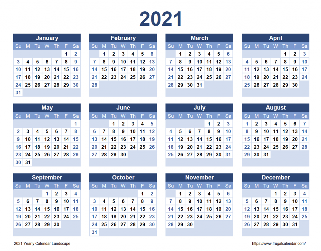2021 Yearly Calendar Landscape