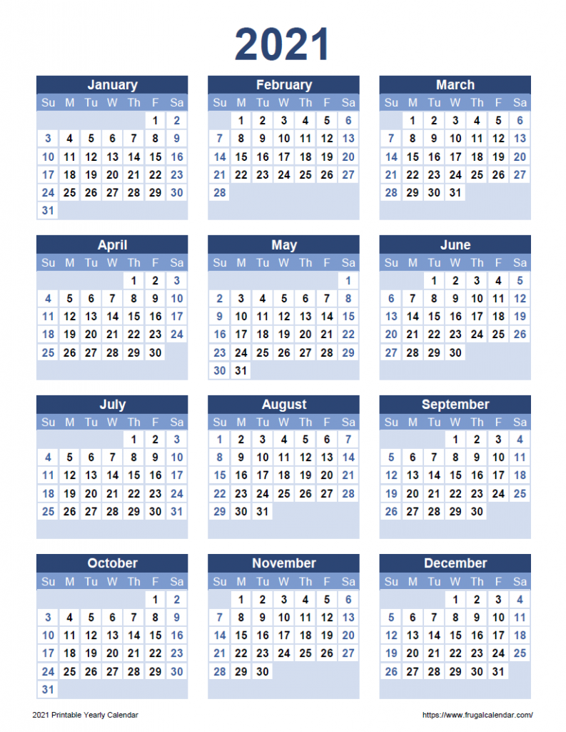 2021 printable yearly calendar